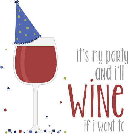 chianti: Glass of red wine with party hat for celebrations bar or kitchen designs. Illustration