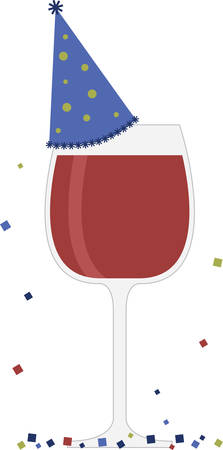 Glass of red wine with party hat for celebrations bar or kitchen designs. Illustration