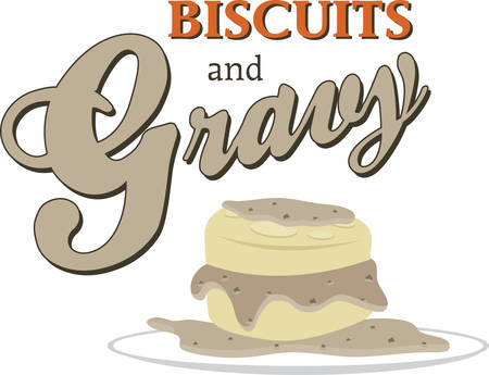 gravy: Biscuits and gravy breakfast dish for cooking or kitchen designs. Illustration