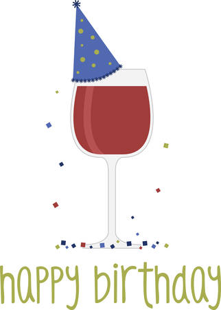 Glass of red wine with party hat for birthday bar or kitchen decorating. Illustration