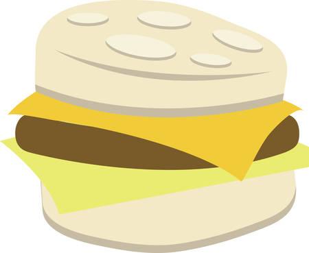 Gebäck und Wurst-Frühstück-Sandwich für das Kochen und Küche Designs. Standard-Bild - 41351041