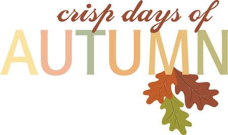 オークの葉アクセントのカラフルな秋のレタリング。