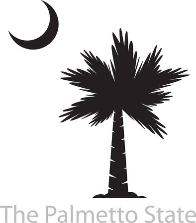 Tropical palm tree silouette with a cresent moon. Illustration