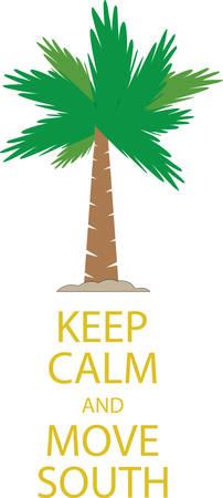 砂に熱帯のヤシの木と穏やかな発言をしてください。  イラスト・ベクター素材