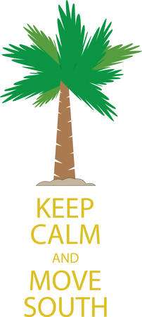 palmetto: Keep Calm saying with tropical palm tree in the sand.
