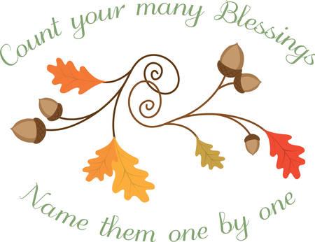 blessings: Swirling autumn blessings oak leaves with acorns.