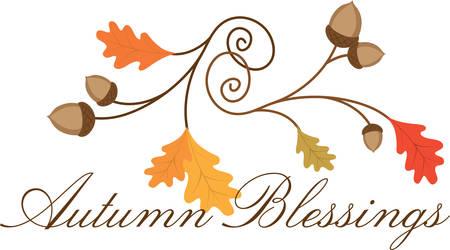 b�n�diction: Tourbillonnant automne b�n�diction de feuilles de ch�ne avec des glands. Illustration