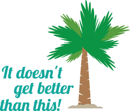 palmetto: Tropical palm tree in the sand with living the life saying. Illustration