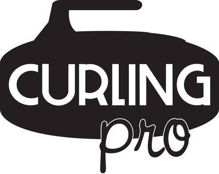 Curling is an interesting sports competition sport. Иллюстрация