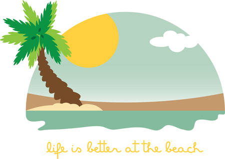 Use this tropical scene for a vacation towel. Иллюстрация