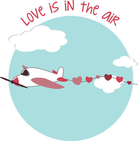 streamer: Airplane in fight leading a heart streamer for your special love occasions. Illustration