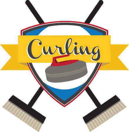 curling stone: Curling is an interesting Olympic sport. Illustration