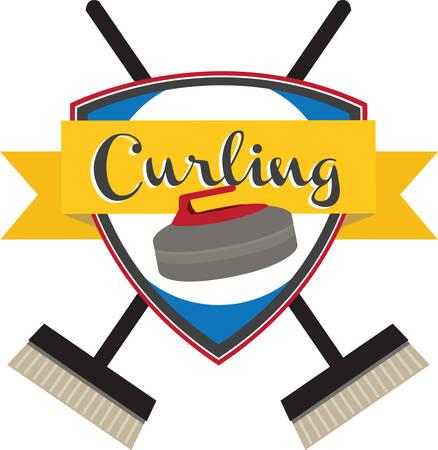 Curling is an interesting sports competition sport. Ilustração