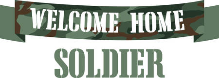 armed forces: Welcome Home camo banner for returning warriors of the Armed Forces. Illustration