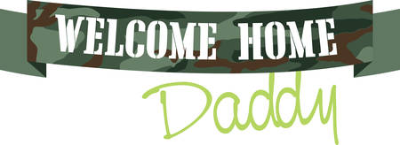returning: Welcome Home camo banner for returning warriors of the Armed Forces. Illustration