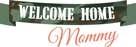 Welcome Home camo banner for returning warriors of the Armed Forces. Illusztráció