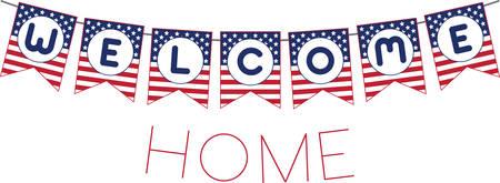 Willkommen patriotischen Banner für den Urlaub oder die Rückkehr Krieger der Streitkräfte. Standard-Bild - 41353498
