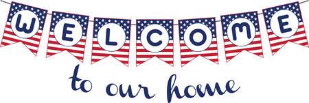 공휴일 또는 무장 세력의 전사로 애국 배너를 환영하십시오.