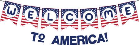 Willkommen patriotischen Banner für den Urlaub oder die Rückkehr Krieger der Streitkräfte. Standard-Bild - 41353605