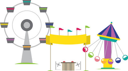 Carnival amusement rides and vending booth. Illustration