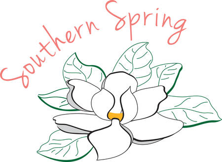 Use this magnolia flower for a southern touch. Illustration