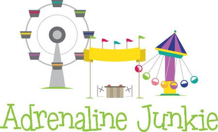 Carnival amusement rides and vending booth. Illusztráció