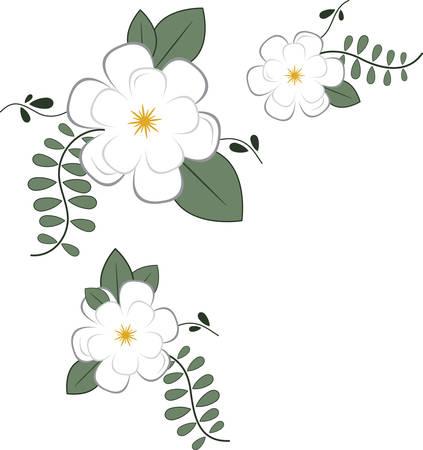 floral corner: Use this floral corner for a napkin or towel. Illustration