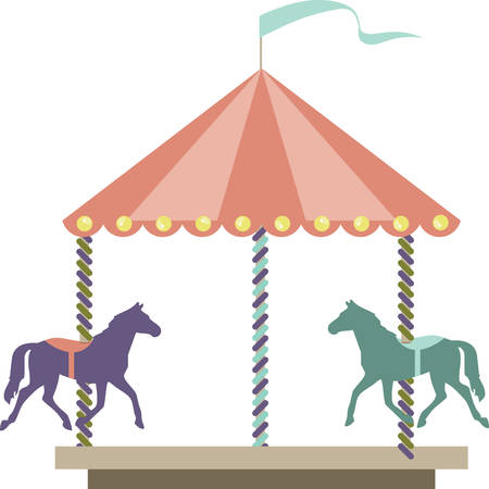 carnival ride: Carousel amusement park or carnival ride with colorful horses. Illustration