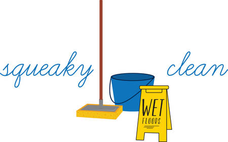 wet floor sign: A mop bucket cart or mop trolley is a wheeled bucket that allows its user to wring out a wet mop without getting the hands dirty pick those designs by concord! Illustration