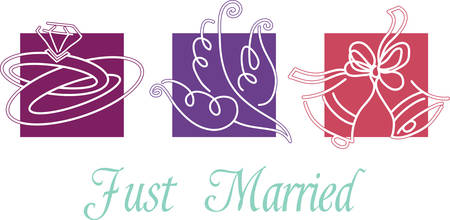 This wedding theme border will make a lovely edge for a cloth picture frame.