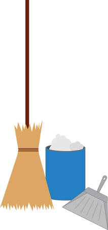 dust pan: Everyone needs a broom and a pan to keep their houses and offices sparkling clean Illustration
