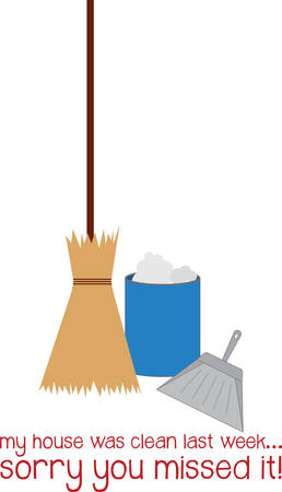 Everyone needs a broom and a pan to keep their houses and offices sparkling clean Ilustração