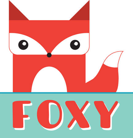 caption: Cute boxy red fox with a blank caption rectangle to write your phrase of choice. Illustration