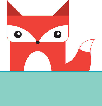 boxy: Cute boxy red fox with a blank caption rectangle to write your phrase of choice. Illustration