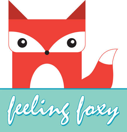 Cute boxy red fox with a blank caption rectangle to write your phrase of choice. Иллюстрация