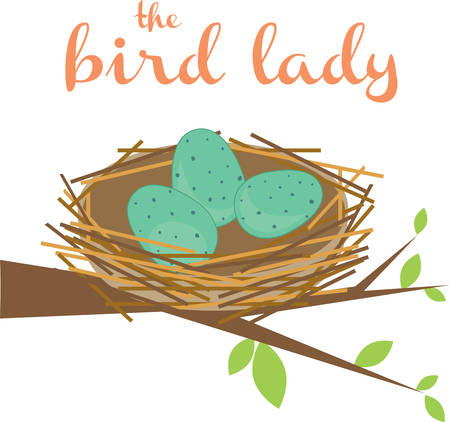 This cute bird nest makes a perfect gift for a birder. Illustration