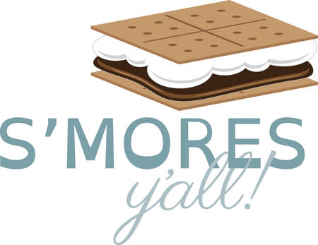 Use this smore on a camping shirt for your favorite little camper. Illustration