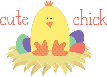 peek: Use this chick for a happy Easter project. Illustration