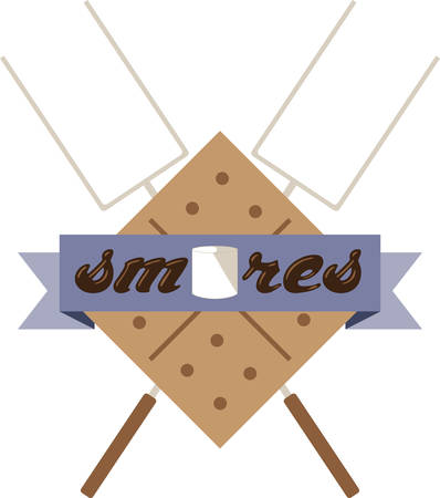 Use this smores kit on a camping shirt for your favorite little camper. Ilustrace