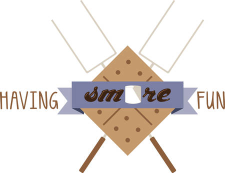 Use this smores kit on a camping shirt for your favorite little camper. Illustration