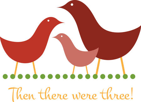 birth announcement: Use this family of birds for a pregnancy or birth announcement. Illustration