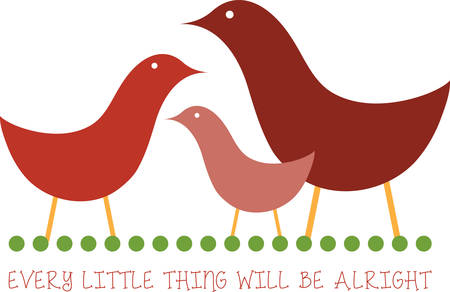encouraging: Use this family of birds for an encouraging message. Illustration