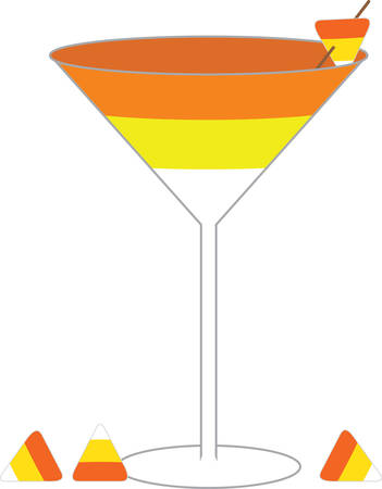 candy corn: A candy corn drink will make a great Halloween decoration. Illustration