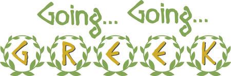 festoon: Display pride in Greek heritage with this laurel wreath saying.