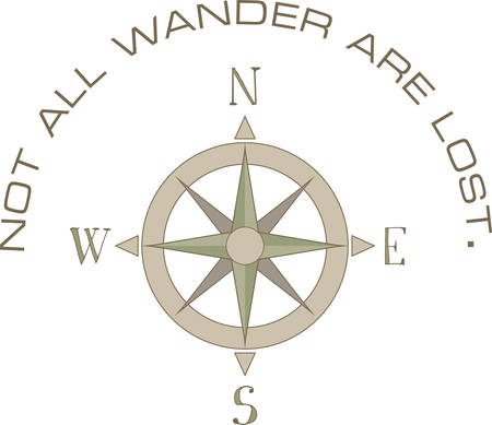 wander: A compass can point the way for your direction. Illustration