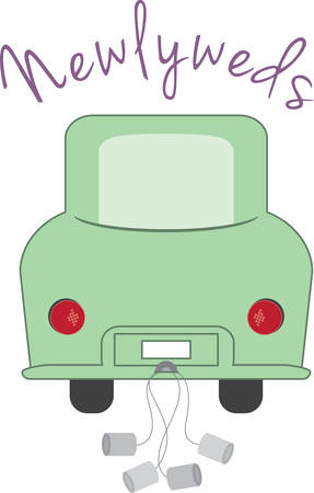 get away: A funny get away car will make a nice gift for newlyweds. Illustration