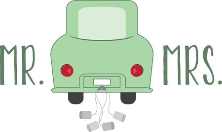A funny get away car will make a nice gift for newlyweds. Illustration