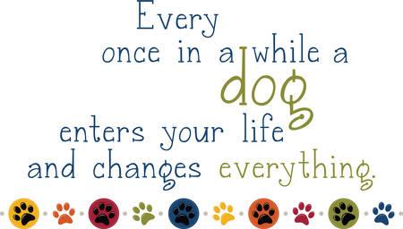 Gebruik deze hond pawprint grens om uw liefde voor uw huisdier. Stock Illustratie