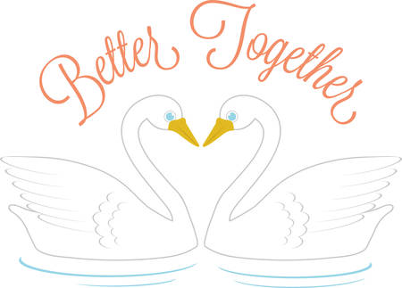 Use these swans to celebrate love in a wedding project. Ilustrace