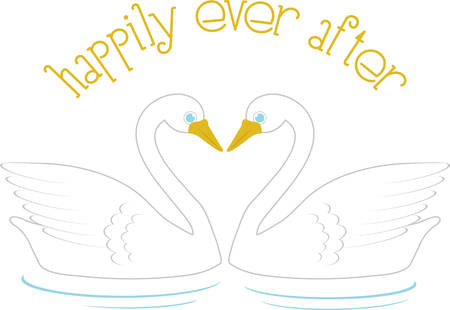 Use these swans to celebrate love in a wedding project. Illustration